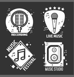 music festival or shop labels headphones vector image