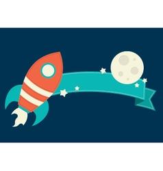 Space rocket banner vector