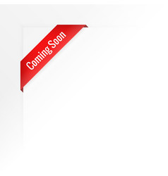 White background of coming soon ribbon vector
