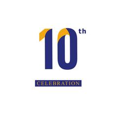 10 th anniversary celebration orange blue vector