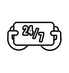 24 7 label commerce line style icon vector