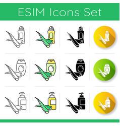 Aloe vera icons set organic deodorant natural vector