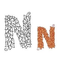 Alphabet letter n in organic leaves font vector