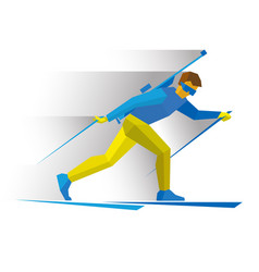 Biathlon biathlete going skiing with rifle vector