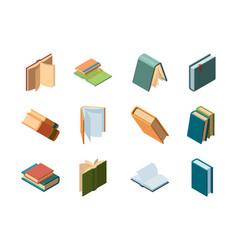 books isometric library symbols school items vector image