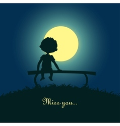 Boy sitting lonely in moonlight vector