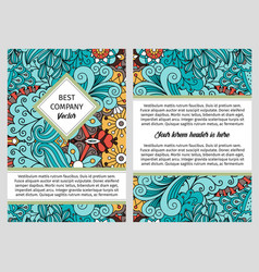 brochure design with swirls and leaves vector image