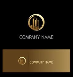 Building cityscape gold company logo vector