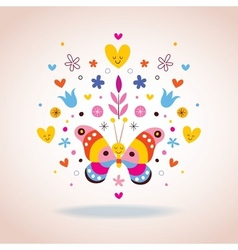 Butterfly hearts and flowers vector