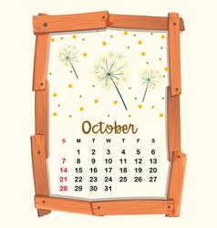Calendar template for october vector