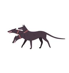 Cartoon angry three-headed dog cerberus vector