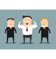 Cartoon powerful businessman with bodyguards vector