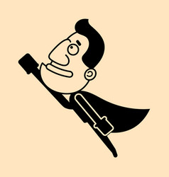 cartoon super hero man with cloak flying vector image