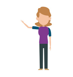 Character woman female standing cartoon gesture vector
