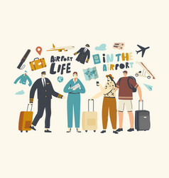 characters in airport people boarding on airplane vector image