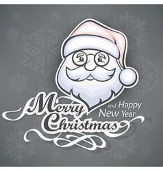 Cheerful Santa face on grey vector