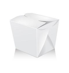 Closed white blank wok box mockup 3d vector