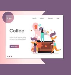 Coffee website landing page design template vector