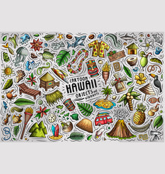 Colorful doodle cartoon set hawaii vector