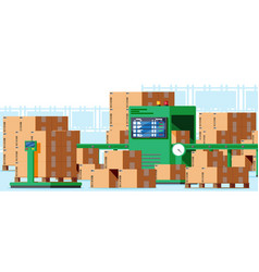 Conveyor belt machine concept interior vector