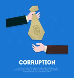 Corruption banner template businessman hand vector