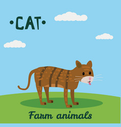 Cute cat farm animal character farm animals vector