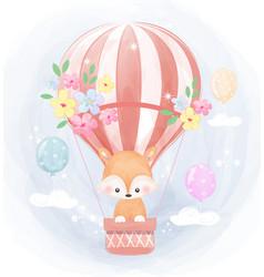 Cute fox and air balloon vector