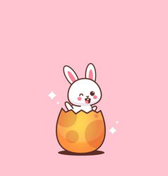cute rabbit sitting in egg happy easter bunny vector image