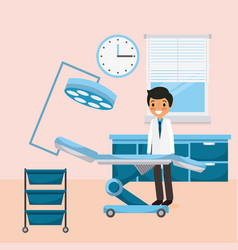 doctor standing room consultation bed medical vector image