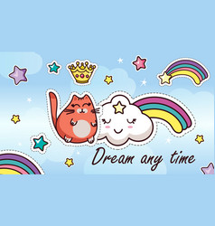 dream any time sticker cartoon kawaii template vector image