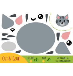education paper game for children cat vector image