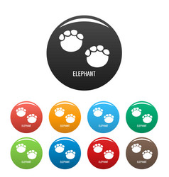 elephant step icons set color vector image