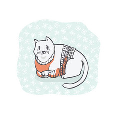 Fat christmas cat in embroidery sweater clipart vector