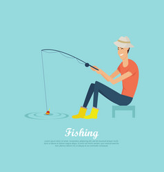 fishing conceptual flat design banner vector image