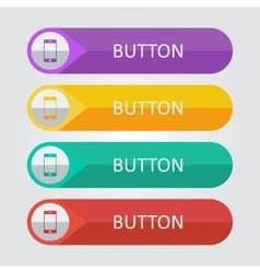 flat buttons with smartphone icon vector image vector image