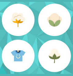 Flat icon cotton set of cotton fiber flower and vector