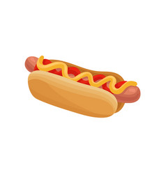 flat icon of hot dog sausage in soft roll vector image