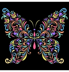 Floral butterfly on black background vector