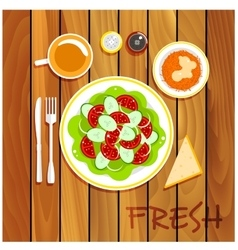 Fresh vegetarian dishes on wooden table vector