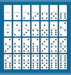 Full set white dominoes with shadows on a blue vector