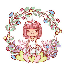 girl with weading dress and hearts and branches vector image