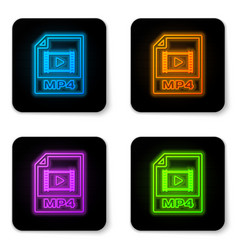 glowing neon mp4 file document icon download mp4 vector image