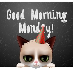 Good morning Monday with cute grumpy cat vector image vector image