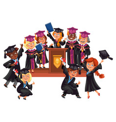Graduates celebrate finishing of education happy vector