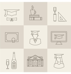 graduation icons vector image