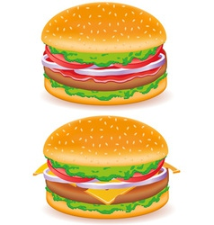 Hamburger and cheeseburger isolated on white backg vector