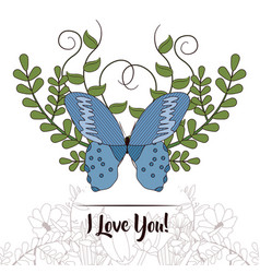 Happy mothers day card with butterflies and vector