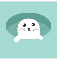Harp baby seal pup Ice-hole Cute cartoon character vector image