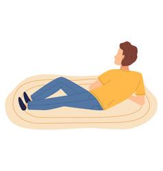 Isolated cartoon character man lying at floor on vector