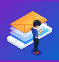 isometric email marketing concept sending emails vector image